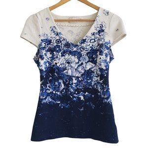 Anthropologie Postmark floral top blue small